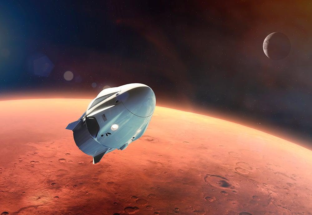 Cohete en la órbita de Marte