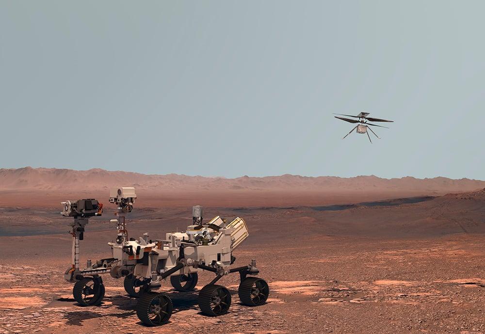 Imagen del rover Perseverance y del Ingenuity