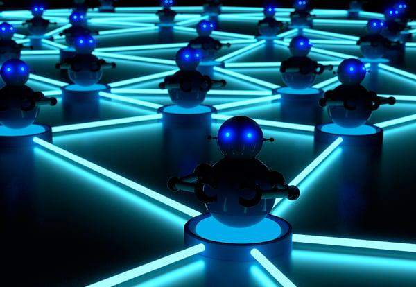 Representación alegórica de cómo un virus informático contagia a los sistemas que están interconectados