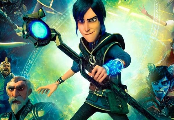 Protagonista de la serie Trollhunters con un arma en la mano.