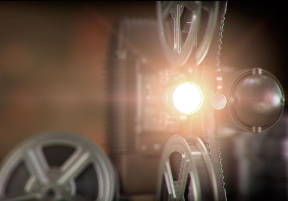 Proyector de cine antiguo encendido