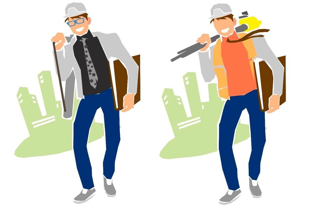 Dibujo de un arquitecto y un arquitecto técnico en el que hay que buscar las 5 diferencias