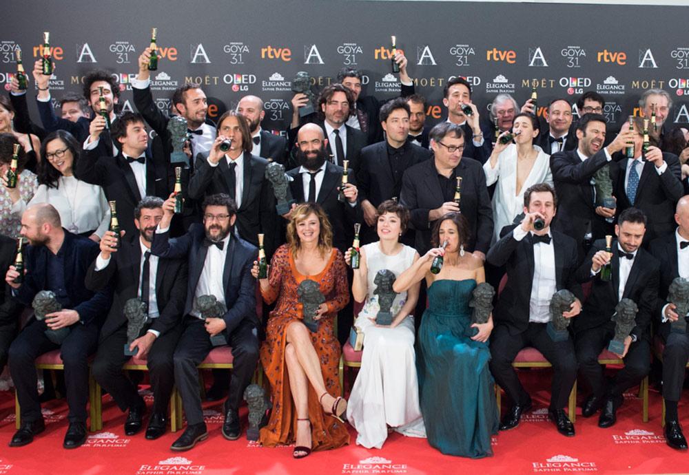 Algunos de los premiados durante la gala de los Premios Goya