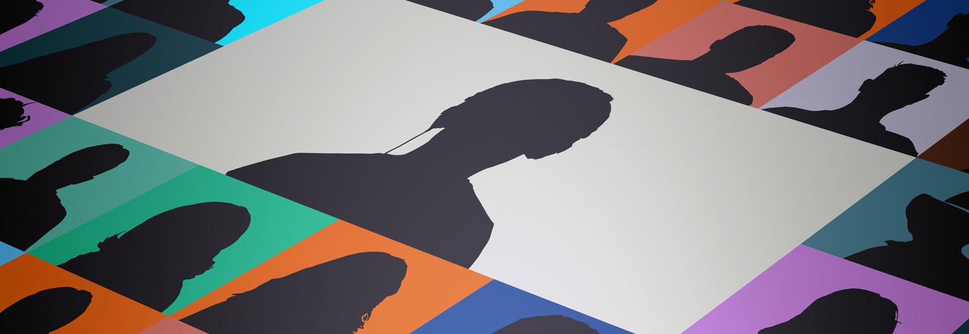 Imagen compuesta por iconos de sombras y celdas de colores en los que se simula una reunión virtual